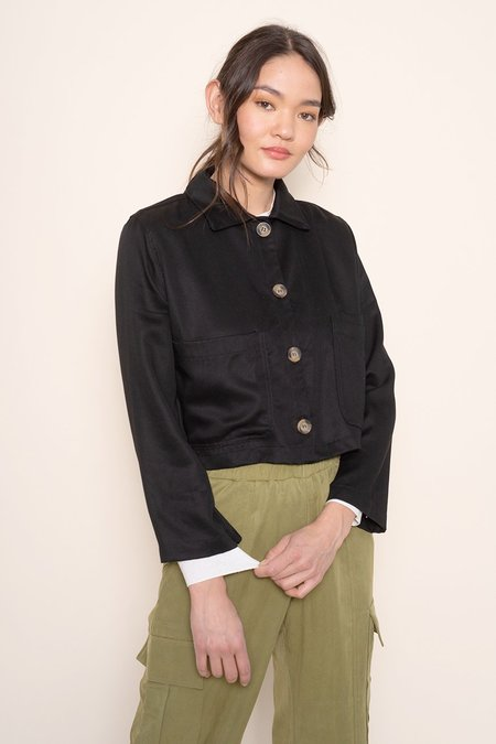 BACK BEAT RAGS Tencel Cropped Shirt Jacket