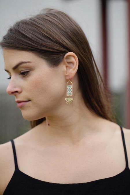 Ayla Isadora Geometric Brass and Beaded Earrings - Sunburst Teal