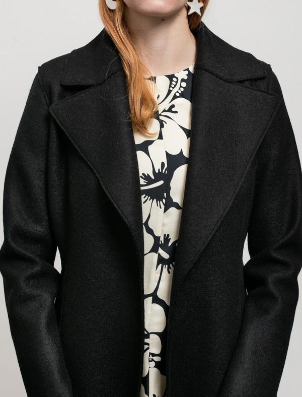 Harris Wharf Womens Long Duster Coat Pressed Wool Black