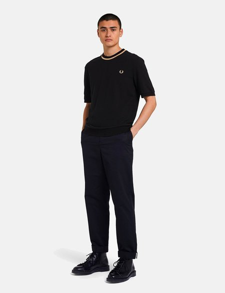 Fred Perry Reissues Crew Neck Pique T-Shirt - Black/Champagne