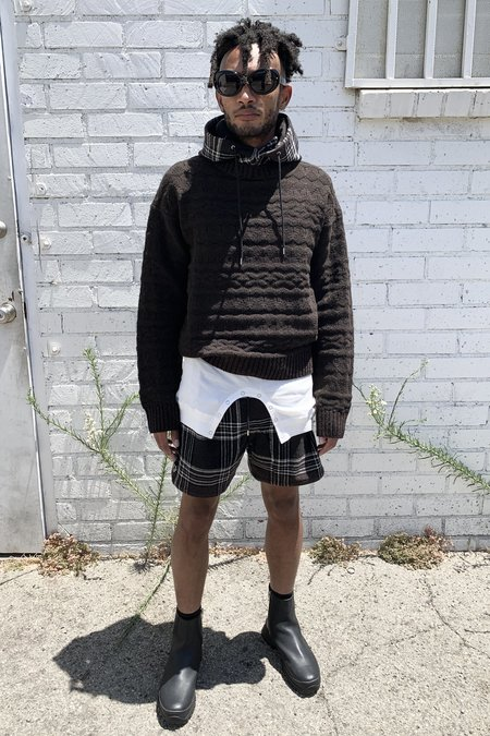 The Soloist. Amish Check Blanket Horizontal Zip Pajama Short Trunks