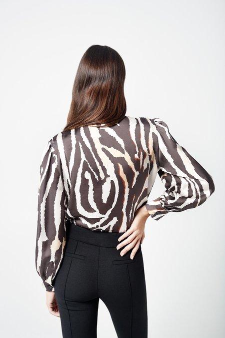 Smythe Tie Front Blouse - Zebra