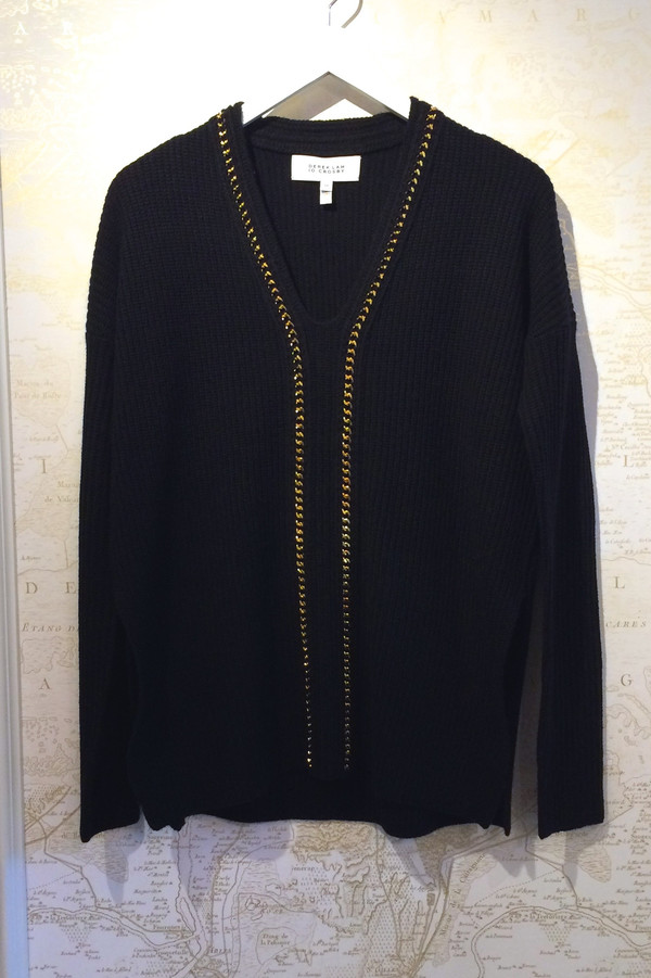 Derek Lam 10 Crosby V-Neck Sweater with Chain Detail