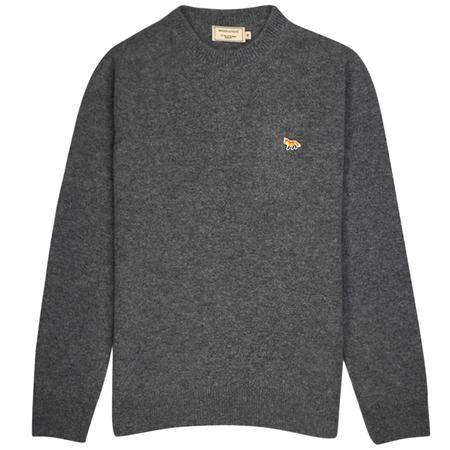 Maison Kitsuné Lambswool R-neck Pullover - Profile Fox Patch/Grey Melange