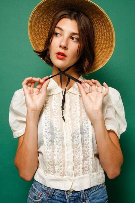 Vintage Straw Hat With Ribbon - Natural/Black