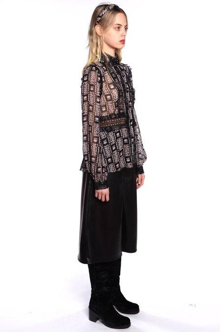 Anna Sui Florette Trellis Top - Black Ivory