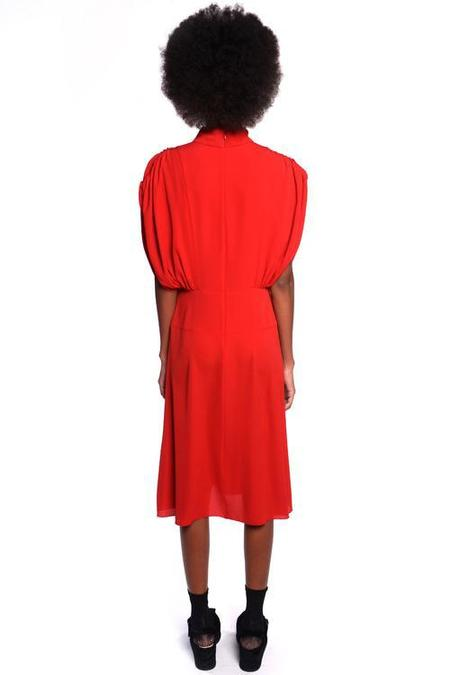 Anna Sui Pebble Georgette Mock Neck Dress - Rouge