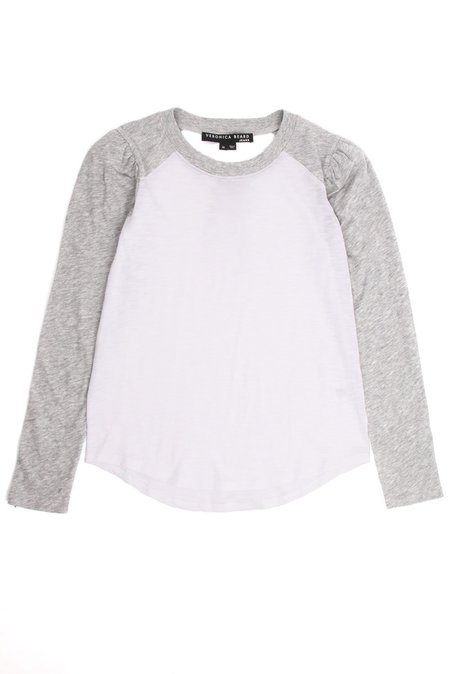 Veronica Beard Mason Baseball Tee - Grey/White