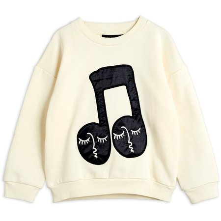 kids mini rodini note patch sweatshirt - off white