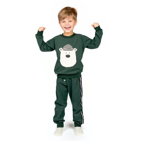 Kids Wauw Capow By Bang Bang Copenhagen Hello Teddy Sweatshirt - Green