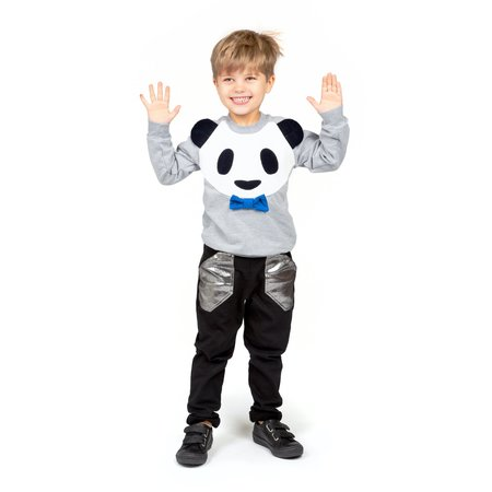 Kids Wauw Capow By Bang Bang Copenhagen Panda Power Sweatshirt - Grey