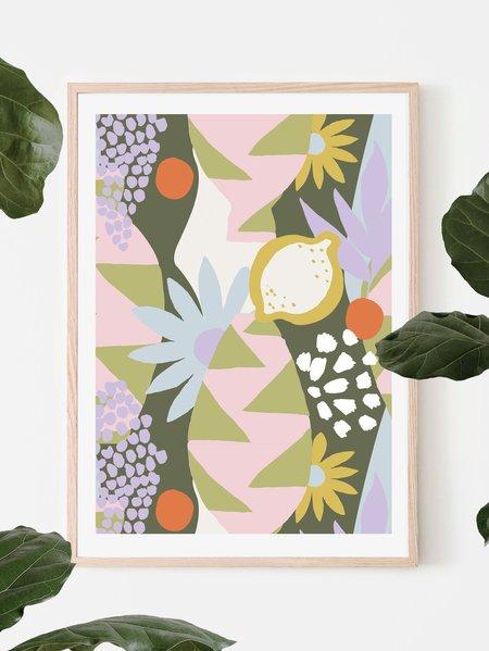 Mosey Me Tropica Art Print - Khaki
