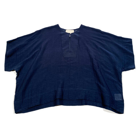 Anaak Raj Shortsleeve Yoke Blouse - Navy