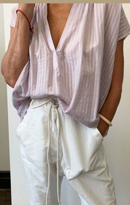 Two Khadi Stripe Shirt - Lavender