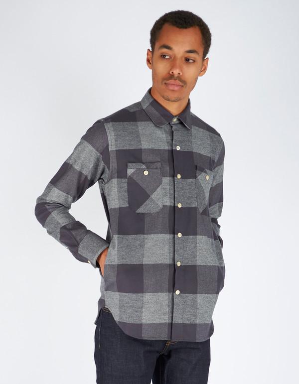 Men's 18 Waits Woodsman Pocket Shirt Charcoal Check Flannel