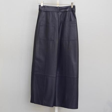 Jason Wu Leather Wide Leg Pant - NAVY