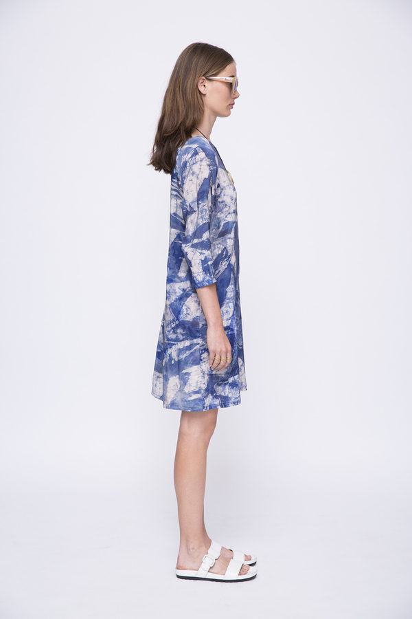 Osei-Duro Linter Dress in Blue Abstract