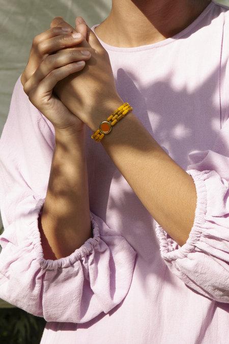 A. Carnevale Glass Bead Bracelet in Yellow