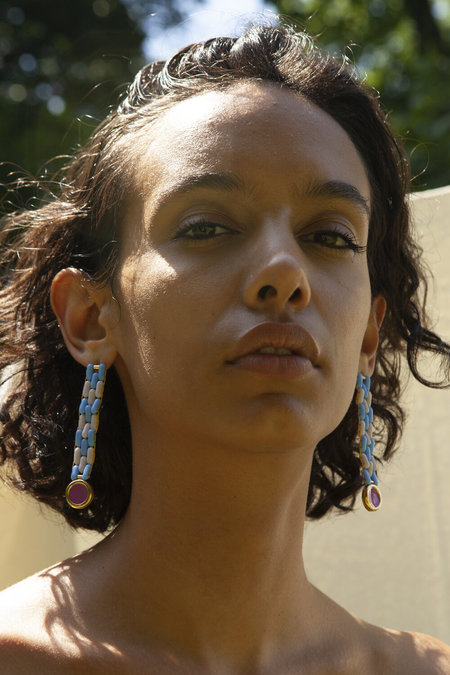 A. Carnevale Gold Glass Bead Earrings - Blue/Lavender