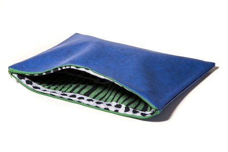 Fashion Rising Collection Vegan Leather Hand-Batik Large Carry All - Royal Blue/Green Aggie-Print