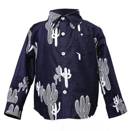 Kids 18 Waits Hopper Hunter Long Sleeved Hopper Shirt - Navy Cacti