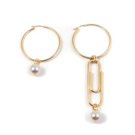 Joomi Lim Asymmetrical Hoop Earrings w/ Giant Paperclip & Pearls