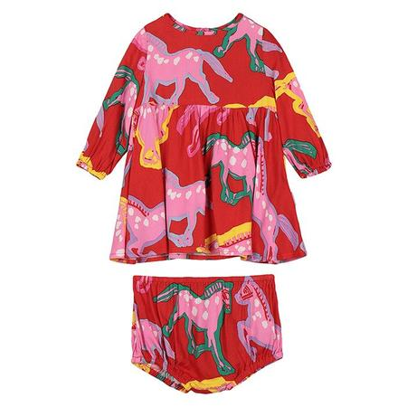 Kids Stella McCartney Baby Dress With All Over Horses Print - Red