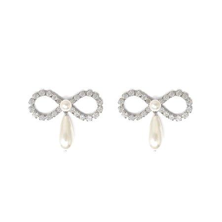 Joomi Lim Crystal Bow & Pearl Earrings