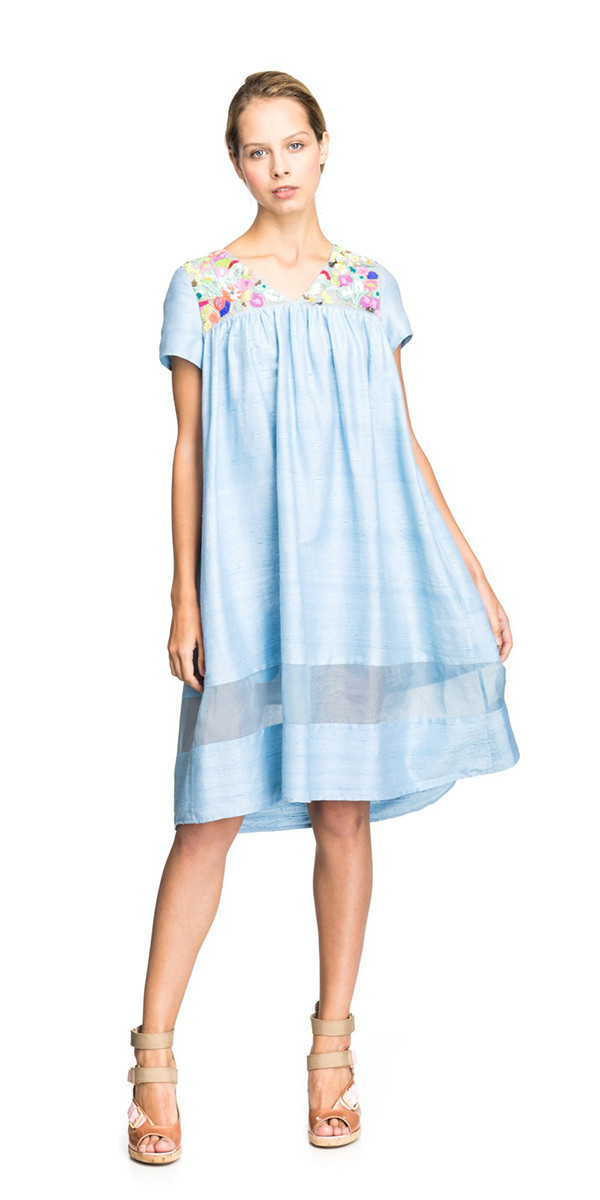 SUNO FLORAL EMBROIDERY BABYDOLL DRESS
