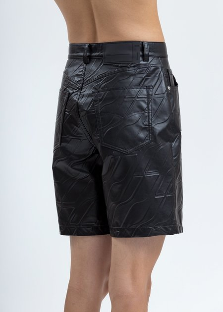 we11done Logo Embossed Faux Leather Shorts - Black