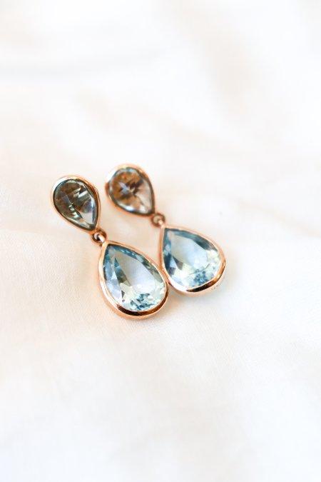 Vasant Blue Topaz Dangle Earring - 14K Gold