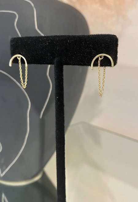 SS JEWELRY Semi Circle Chain Earrings