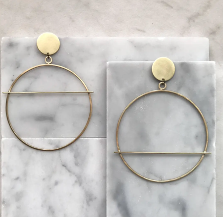 Zil Jewelry Rise and Fall Hoops - Brass