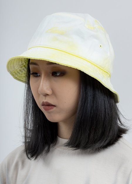 we11done Hand Bleached Iridescent Logo Embossed Bucket Hat - Yellow