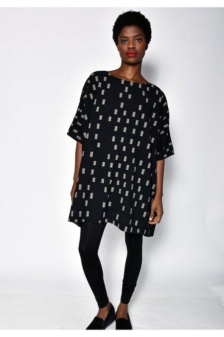 Uzi NYC Coarse Cotton Box Dress - Black Disko