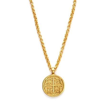 Julie Vos Valencia Double Sided Pendant - 24K gold plate