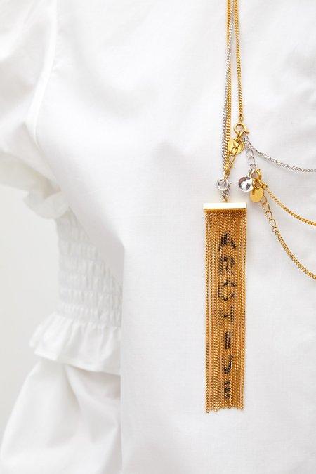MM6 Maison Margiela Archive Fringed Necklace - Gold