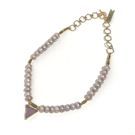 Marijke Bouchier Purple Pearls with Druzy Crystal Necklace