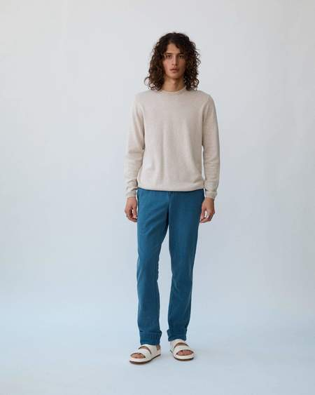Corridor Washed Seersucker Trousers - Indigo