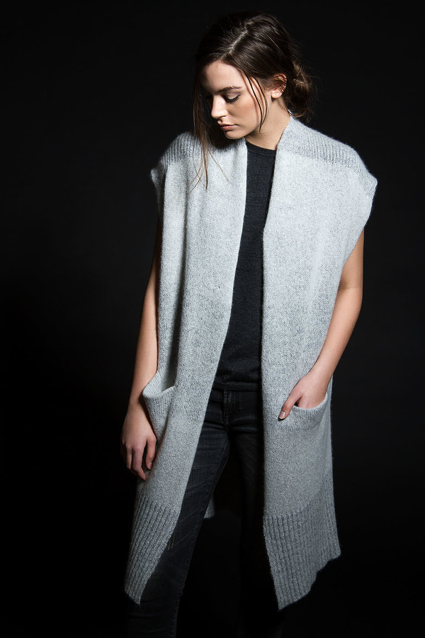 Paychi Guh Cashmere Open Poncho Mist