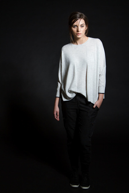 Paychi Guh Cashmere Tipped Tee - Dove Grey