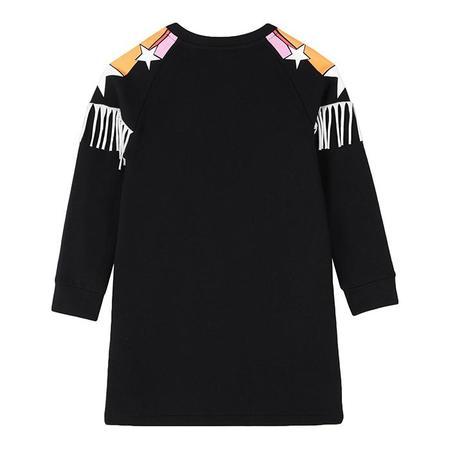 Kids Stella McCartney Sweatshirt Dress With Stars Print And Fringe - Black