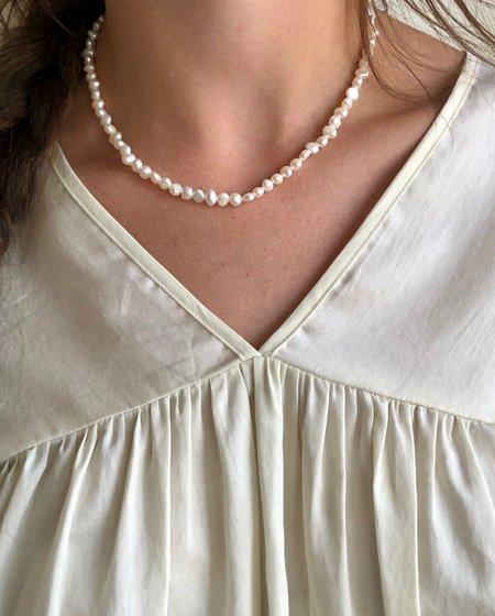 Machete Freshwater Pearl Necklace - White