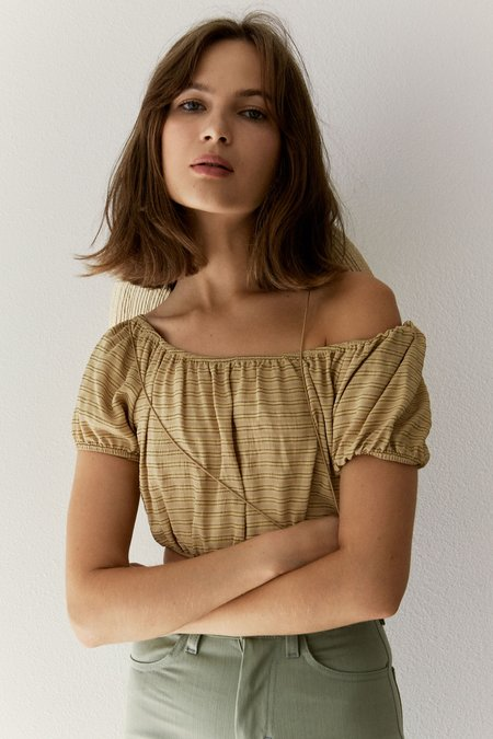 Whimsy + Row Stella off the Shoulder Top - Yellow Stripe