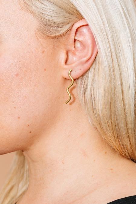Rivet & Rise Wiggle Stud Earrings - brass