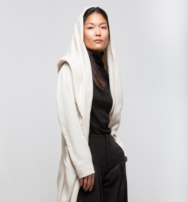 Laura Siegel Draped Coat Ivory