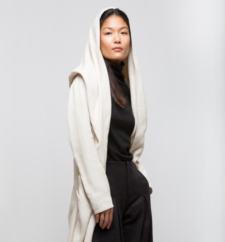 Laura Siegel Draped Coat Ivory