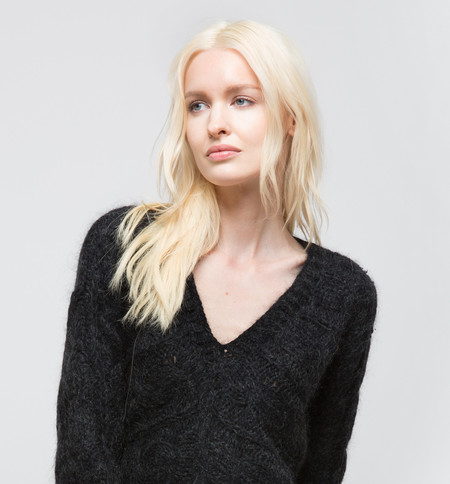 Ryan Roche V-Neck Sweater Black
