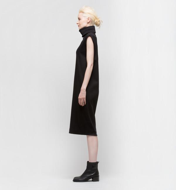 Kowtow Building Block Rib Roll Neck Dress Black