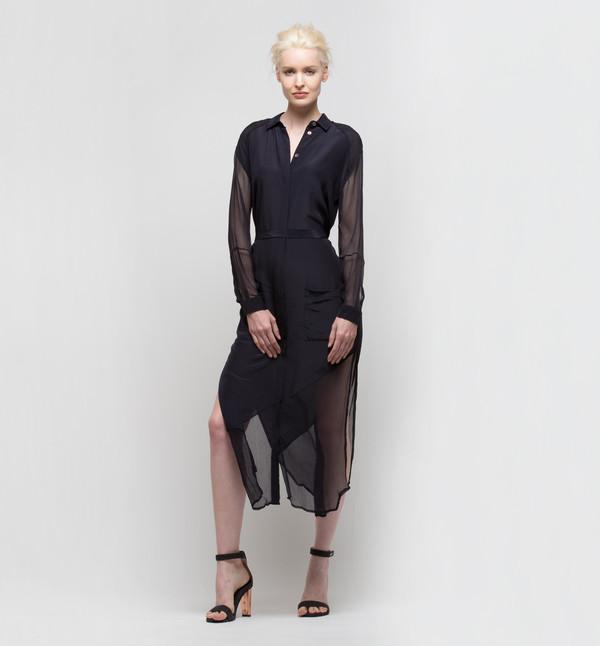 Laura Siegel Button Up Dress with Side Slits Plum Black
